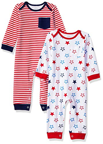 Amazon Essentials Baby 2-Pack Coverall, Uni Americana, Newborn