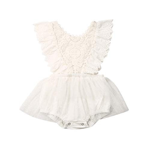 Newborn Infant Baby Girls Butterfly Sleeve Romper Clothes Ruffle Lace Bodysuit