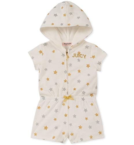 Juicy Couture Baby Girls Hooded Romper, Silent Vanilla/Gold/Silver
