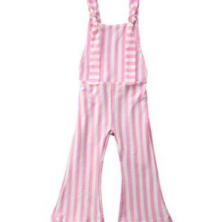 ZAXARRA Toddler Kids Baby Girl Stripes Bell-Bottom Jumpsuit Romper Overalls Pants