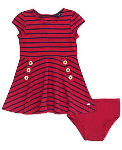 Tommy Hilfiger Baby Girls Short Sleeve Dress, Stripe Regal Red