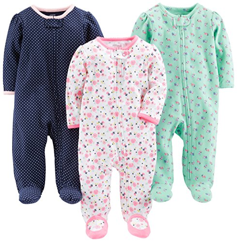 Simple Joys by Carter's Baby Girls' 3-Pack Sleep and Play, Pink Floral