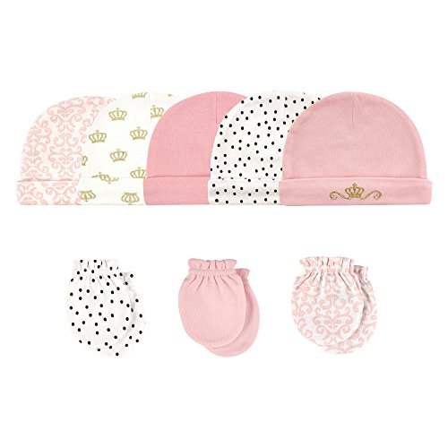 Hudson Baby Unisex Baby Cotton Cap and Scratch Mitten Set, Crown