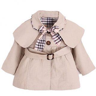 Kids Baby Girl Spring Autumn Trench Coat Fashion Wind Proof Jacket Khaki