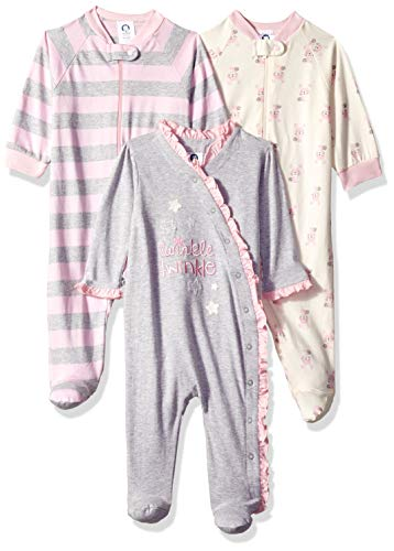 GERBER Baby Girls' 3-Pack Organic Sleep 'N Play, Bunny Star
