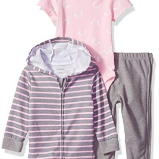 Hanes Ultimate Baby Zippin Pants and Knit Hoodie with Short Sleeve Bodysuit Set