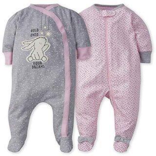 GERBER Baby Girls' 2-Pack Sleep 'N Play, Bunny Love
