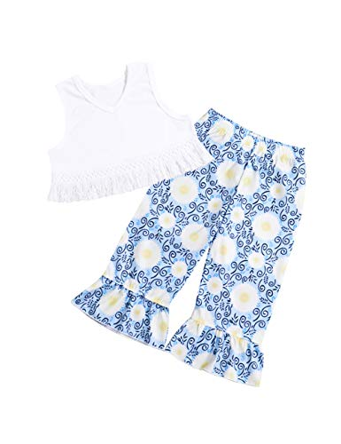 Baby Girls 2 3 T Clothes Sleeveless Tassel Top +Floral Ruffle Bell-Bottoms Pants