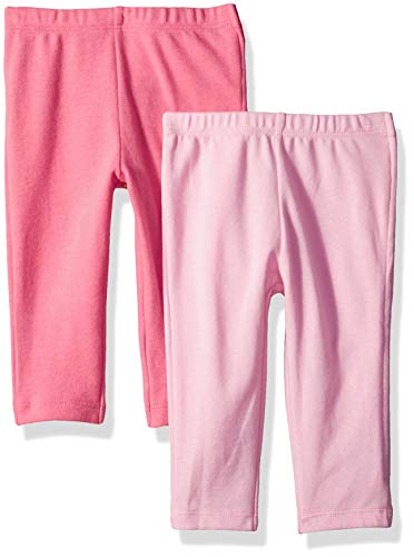 Hanes Ultimate Baby Zippin 2 Pack Knit Pants with Side Zipper, Pink