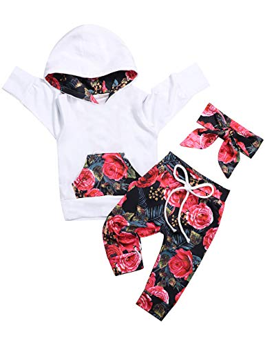 Baby Girls Long Sleeve Hoodie Tops and Flowers Pants Outfit with Pocket Headband