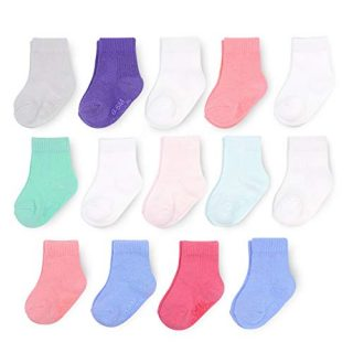 Fruit of the Loom Baby 14-Pack Grow & Fit Flex Zones Cotton Stretch Socks