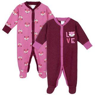 GERBER Baby Girls 2-Pack Thermal Sleep 'N Play, Pink Fox