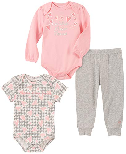 Calvin Klein Baby Girls 3 Pieces Bodysuit Pants Set, Pink/Print