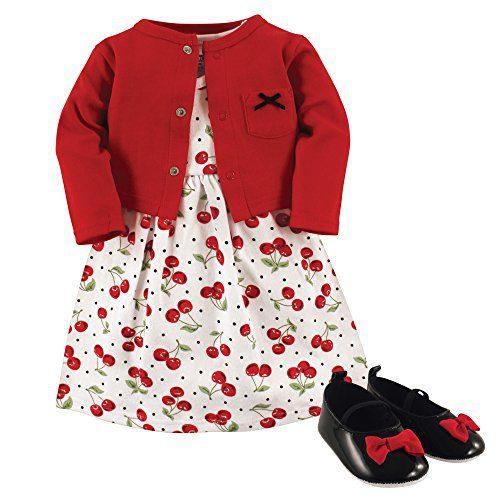 Hudson Baby Baby Girl Cotton Dress, Cardigan and Shoe Set, Cherries