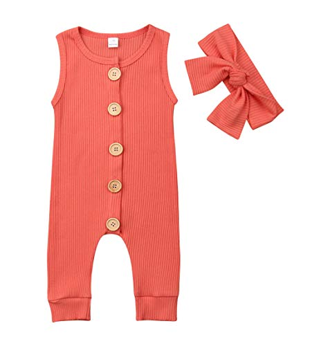 VISGOGO Newborn Baby Girls Kid Solid Colour Bodysuit Sleeveless Romper