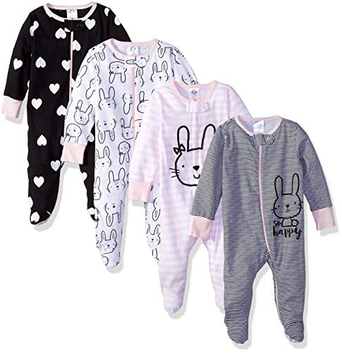 GERBER Baby Girls' 4-Pack Sleep N' Play, Bunny