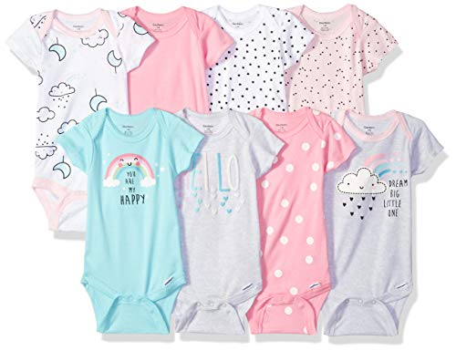 GERBER Baby Girls' 8-Pack Short-Sleeve Onesies Bodysuit, Clouds