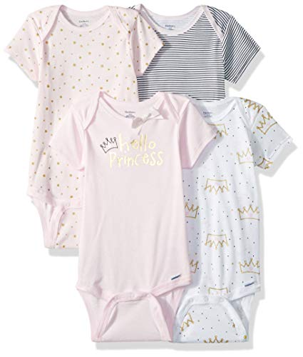 GERBER Baby Girls' 4-Pack Short-Sleeve Onesies Bodysuit, Princess Crown