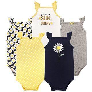 Hudson Baby Unisex Baby Cotton Sleeveless Bodysuits, Daisy
