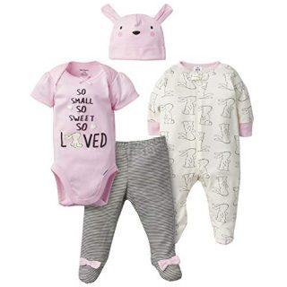 GERBER Baby Girls 4-Piece Sleep 'N Play, Onesies, Pant and Cap, Bunny Love