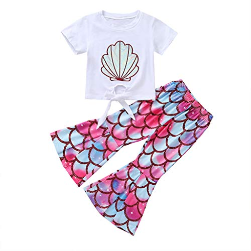 Toddler Baby Little Girls Mermaid T-Shirt Top Fish Scale Bell Bottom Pant