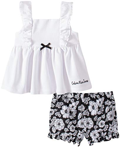 Calvin Klein Baby Girls' 2 Pieces Shorts Set, White/Black