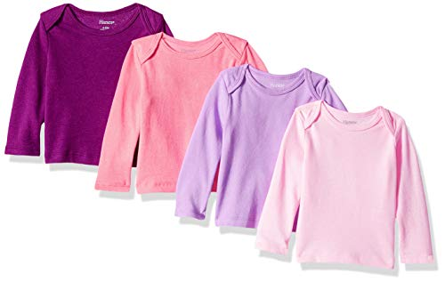 Hanes Ultimate Baby Flexy 4 Pack Long Sleeve Crew Tees, Pink/Purple