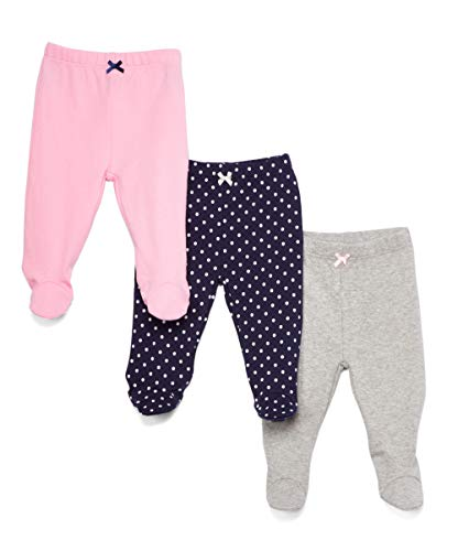 Spasilk Baby Girls 3 Pack Cotton Footed Pants, Navy Dots