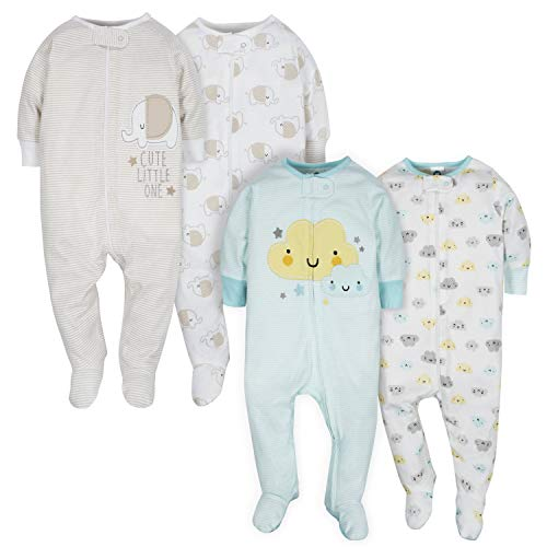 GERBER Baby 4-Pack Sleep N' Play, Clouds/Elephant