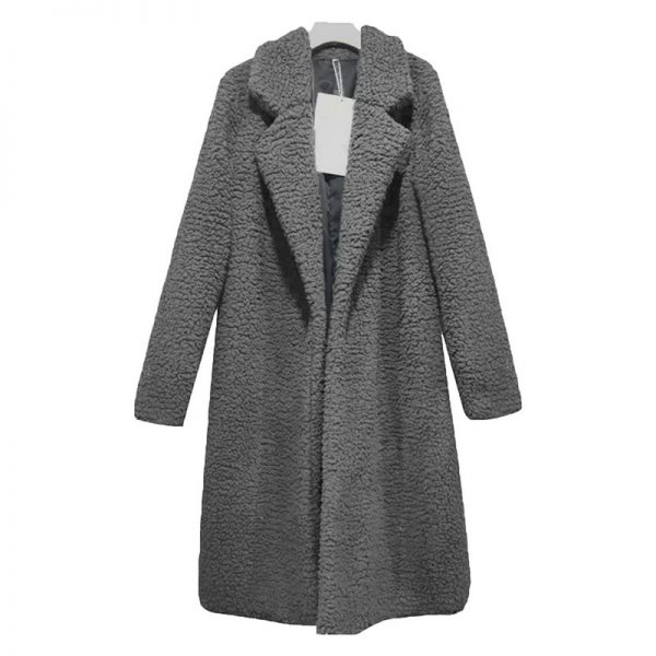 Thin Fashion Solid Plus Size Wool Blend White Long